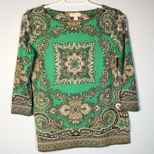 Charter Club Women's Green Boho Tunic Shirt